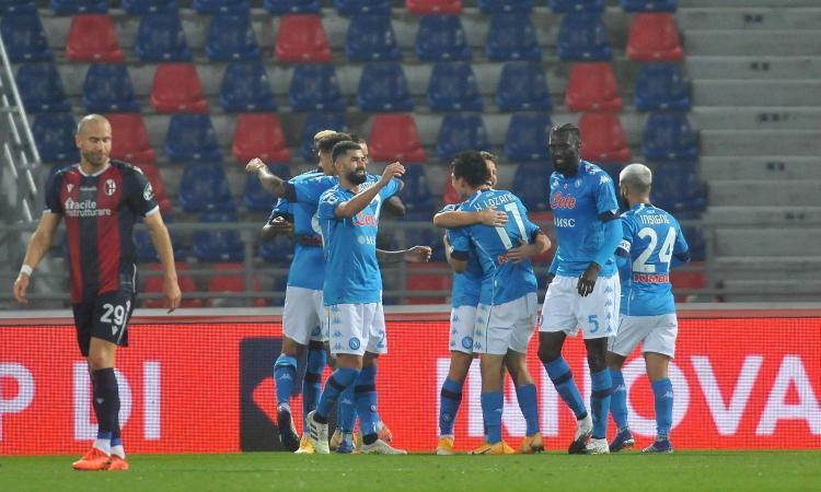 Bologna-Napoli 0-1 LIVE triple chance failed by Orsolini, Palacio and Svanberg